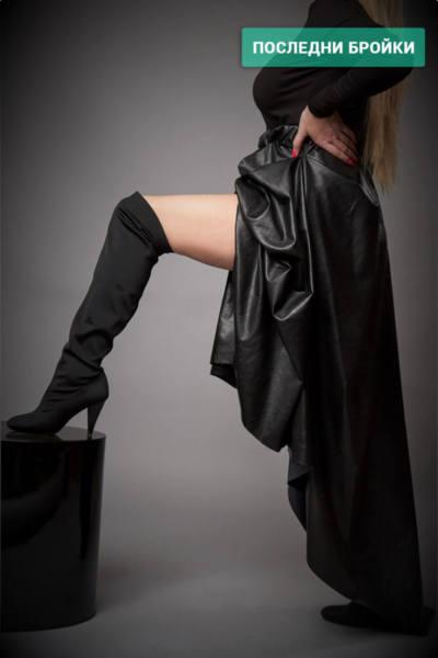 Ефектна черна дълга  кожена рокля